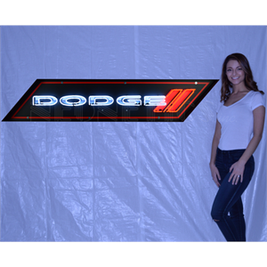 Neon Sign Dodge Emblem In Steel Can 9DODGE