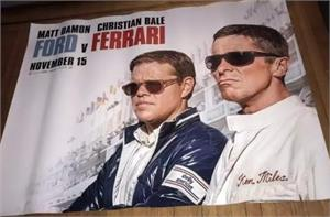 Ford Ferrari Movie Poster 5 feet x 5 feet in size bus stop size