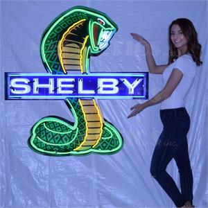 Neon Sign Shelby Emblem In Steel Can 9SHLBY